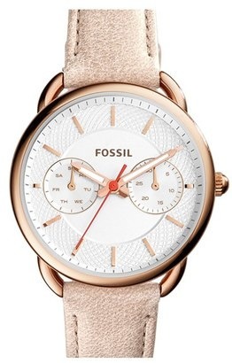 Women's Fossil 'Tailor' Multifunction Leather Strap Watch, 35Mm $135 thestylecure.com