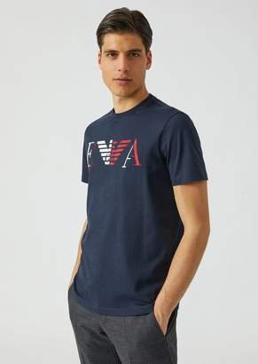 Emporio Armani Printed Jersey T-Shirt With Printed And Embroidered Ea Logo