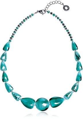 Antica Murrina Marina 2 Basic - Turquoise Green Murano Glass and Silver Leaf Choker $125 thestylecure.com