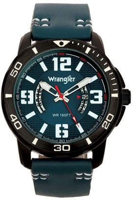 Wrangler Men Watch, 48MM Ip Black Case with White Printed Arabic Numerals on Outer Black Bezel, Blue Dial with Dual Crescent Windows, Date Function, Blue Strap with White Accent Stitch Analog