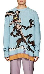 Calvin Klein Men's Wile E. Coyote Reverse-Knit Wool Sweater - Lt. Blue