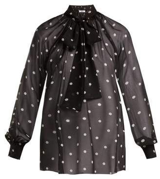 Msgm - Sheer Polka Dot Silk Pussybow Blouse - Womens - Black