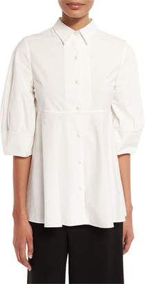 Co Nip-Waist Half-Sleeve Blouse, White