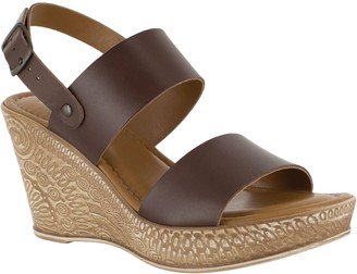 Bella Vita Leather Wedge Sandals - Cor-Italy