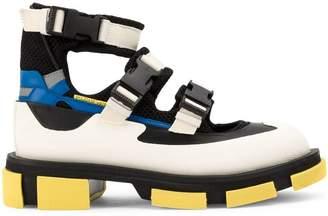 Both buckle strap hi-top sneakers