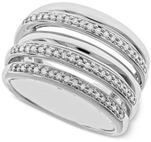Macy's Diamond Multi-Layer Statement Ring (1/4 ct. t.w.) in Sterling Silver