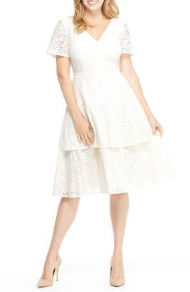 Gal Meets Glam Doris Bow Back Tiered Skirt Lace Dress