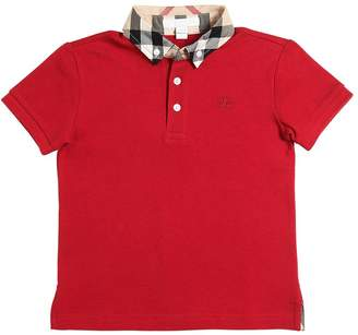 Burberry Button Down Cotton Piqué Polo Shirt