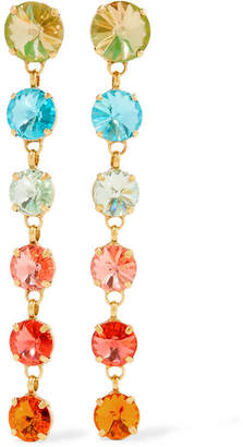 Swarovski Roxanne Assoulin - Technicolor Gold-tone Crystal Earrings - Orange