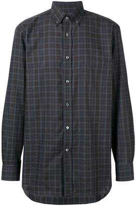 Brioni button-down checked shirt
