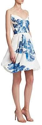 Monique Lhuillier Women's Floral-Print Drape Bodice Silk Cocktail Dress