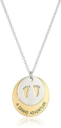 "18k Gold Plated Sterling Silver ""A Grand Adventure Is About To Begin"" with Baby Footprints Disc Necklace"