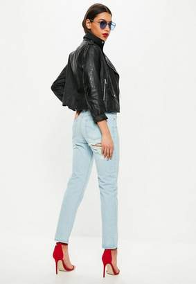 Missguided Blue Low Rise Boyfriend Jeans