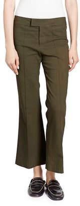 Isabel Marant Lyre Flat-Front Flared Crop Cotton-Blend Pants