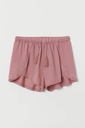 H&M Lace-trimmed Shorts - Pink