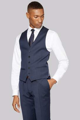 DKNY Slim Fit Indigo Texture Waistcoat