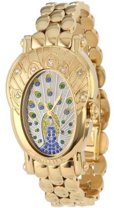 Brillier Women's 'The Royal Plume Collection' Swiss Quartz Gold-Tone-Stainless-Steel Dress Watch