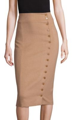 Polo Ralph Lauren Camel-Hair Button-Front Pencil Skirt $398 thestylecure.com