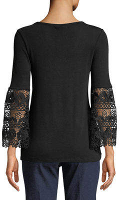 Chelsea & Theodore Crochet Bell-Sleeve Jersey Tee