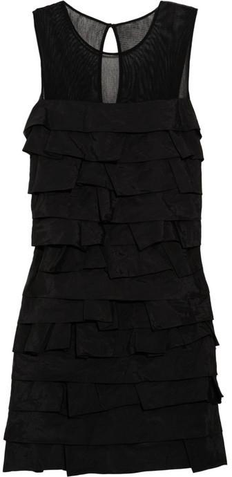 Robert Rodriguez Mesh-paneled ruffled taffeta dress