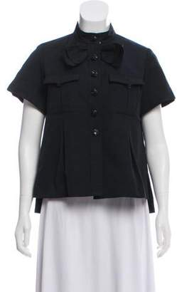 Chanel Short Sleeve Button-Up Blouse Black Short Sleeve Button-Up Blouse