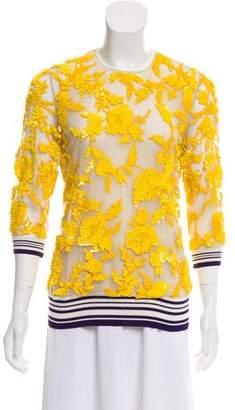Naeem Khan Embellished Silk Top