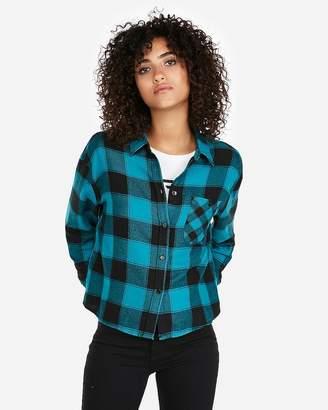 Express Plaid Abbreviated Flannel Shirt