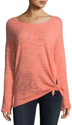 Minnie Rose Knotted Linen-Blend Pullover Top