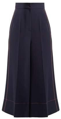 Roksanda Wide Leg Twill Trousers - Womens - Blue Multi