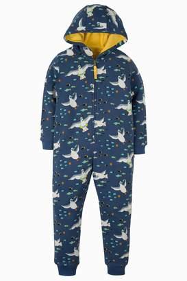 Next Boys Frugi Blue Warm Cotton Seagull Onesie
