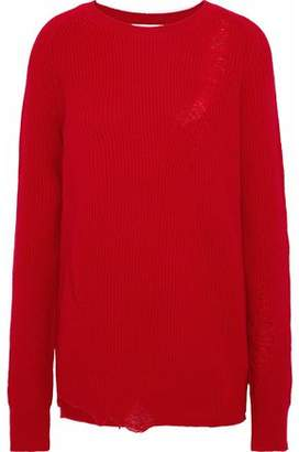 Helmut Lang Distressed Wool And Cashmere-blend Sweater