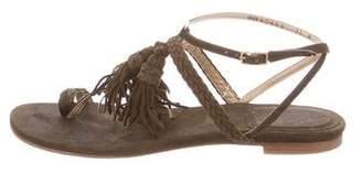 Stuart Weitzman Suede Tassel-Accented Sandals