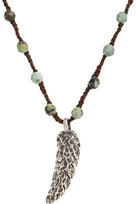 Feathered Soul Men's Feather Pendant on Turquoise Bead & Silk Cord