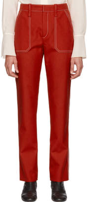 Chloé Red Contrast Stitch Trousers