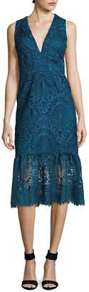 Nicole Miller Evalina Scalloped Lace Sheath Dress