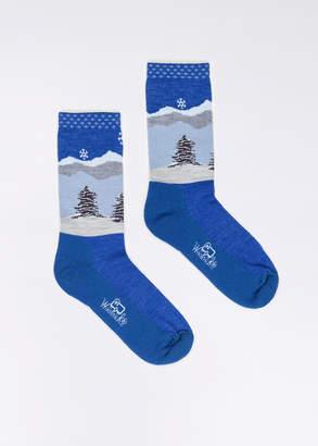 WildFang Woolrich Inc. Woolrich Chimney Peak French Blue Socks | Chimney Peak Socks - BLUE - OS