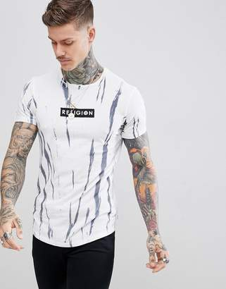 Religion muscle fit t-shirt with stripe tie dye