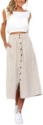 Goodtrade8® Woman's Vintage High Waist Front Button Long Skirt with Pockets