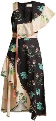 Peter Pilotto One-shoulder floral-print cotton dress