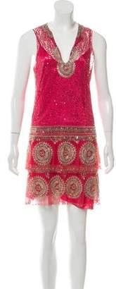 Jenny Packham Embellished Mini Dress Fuchsia Embellished Mini Dress