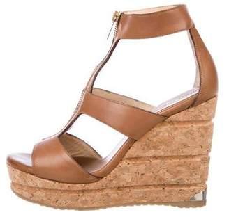 Jimmy Choo Leather Cutout Wedge Sandals