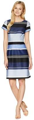 Adrianna Papell Brush of Stripe Printed A-Line Dress Women's Dress