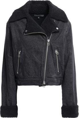 Veronica Beard Rosina Cropped Denim Biker Jacket