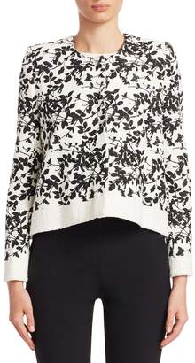 Carolina Herrera Women's Flower Printed Cropped Cardigan