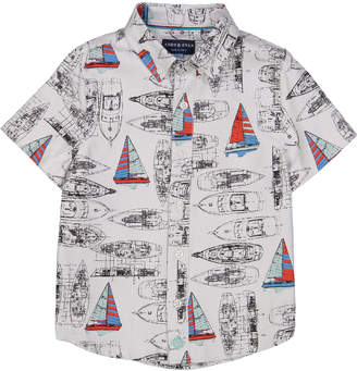 Andy & Evan Vintage Sailboat Short-Sleeve Collared Shirt, Size 2-7