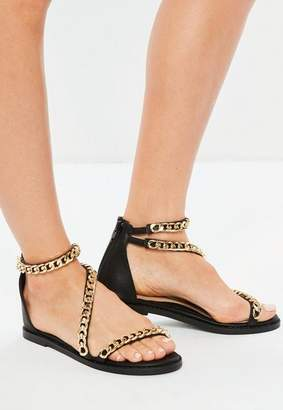 Missguided Black Asymmetric Chain T-Bar Sandals