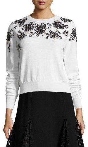 Oscar de la Renta Beaded Floral-Embellished Sweater, White/Black