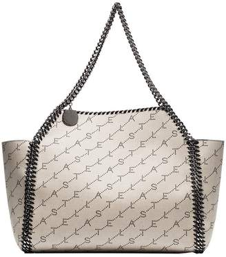 Stella McCartney beige Falabella logo print canvas tote bag