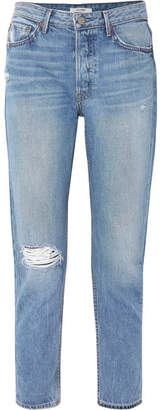 GRLFRND Kiara Distressed High-rise Straight-leg Jeans - Mid denim