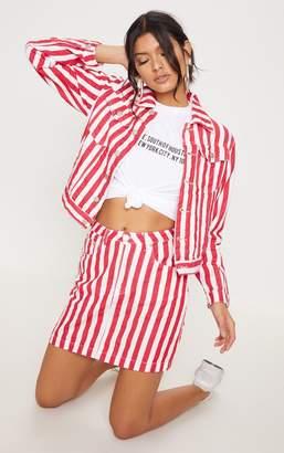 PrettyLittleThing Red Striped Denim Jacket